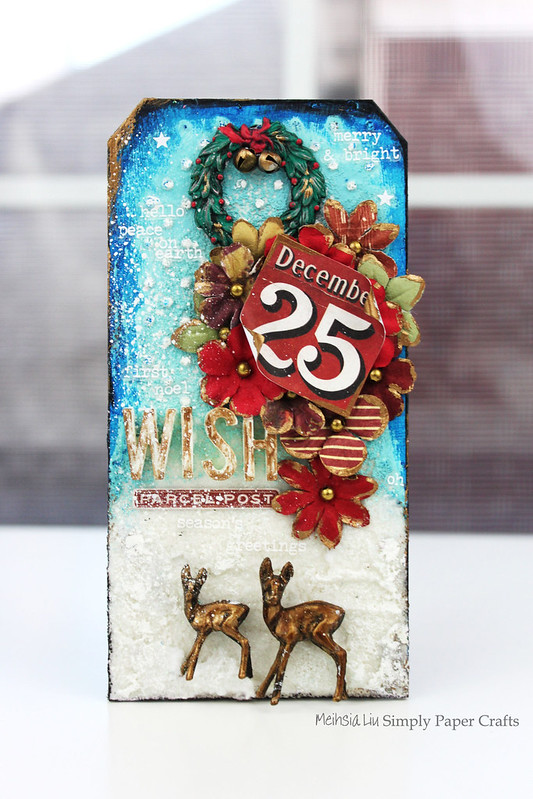 Meihsia Liu Simply Paper Crafts Mixed Media Christmas Tag Let It Snow Simon Says Stamp Tim Holtz