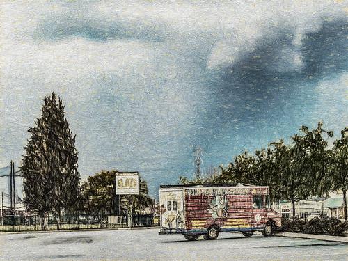 america bakersfield blaze california cloud jfflickr kerncounty painting parkinglot photosbydavid plant postedonello postedonflickr sign sky sunset text transmissionline tree truck unitedstates usa vehicle