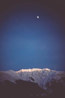 Schruns hochjoch sunset and moon rise