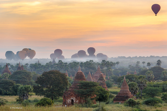 Sunrise hot air balloon launch over Plains of Bagan - Myanmar