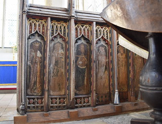 south aisle screen: David, Isaiah, Amos, Jonah, Ezekiel (15th Century, under a piano)