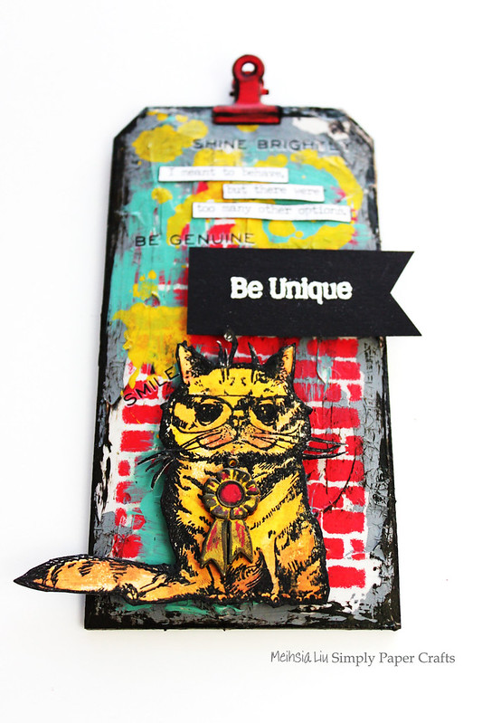 Meihsia Liu Simply Paper Crafts Mixed Media Tag B is for Be Unique Simon Says Stamp Tim Holtz Brutus Monroe 2