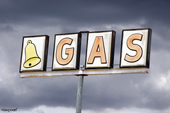 Bell Gas Sign in Truxton, Arizona. Original image from Carol M. Highsmith's America, Library of Congress collection. Digitally enhanced by rawpixel.