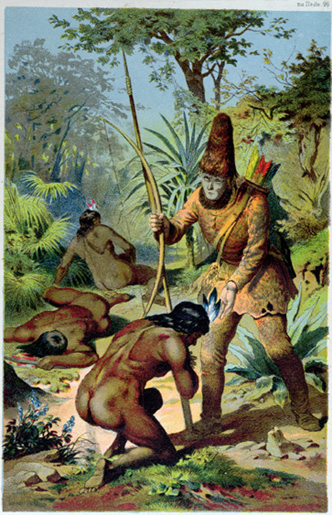 Robinson Crusoe standing over Friday after he frees him from the cannibals. Illustration by Carl Offterdinger (1829-89).