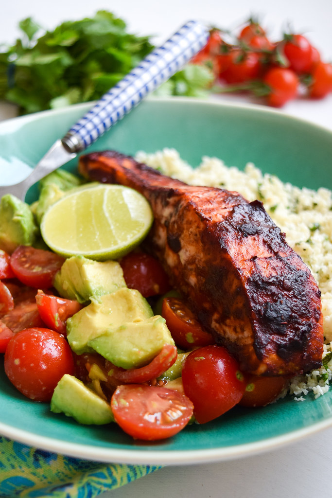 Chipotle Salmon with Mexican Cauliflower Rice, Tomato and Avocado