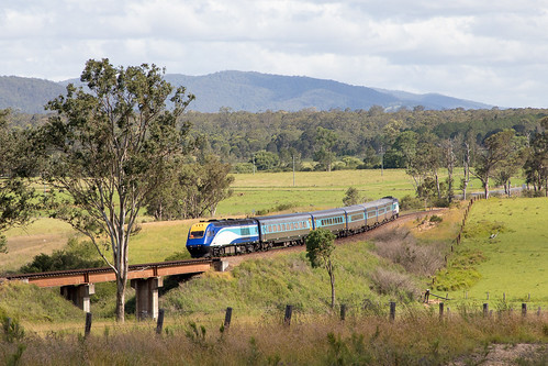 NSW Trains NT35 XPT service to Grafton passing the curves outside of Gloucester