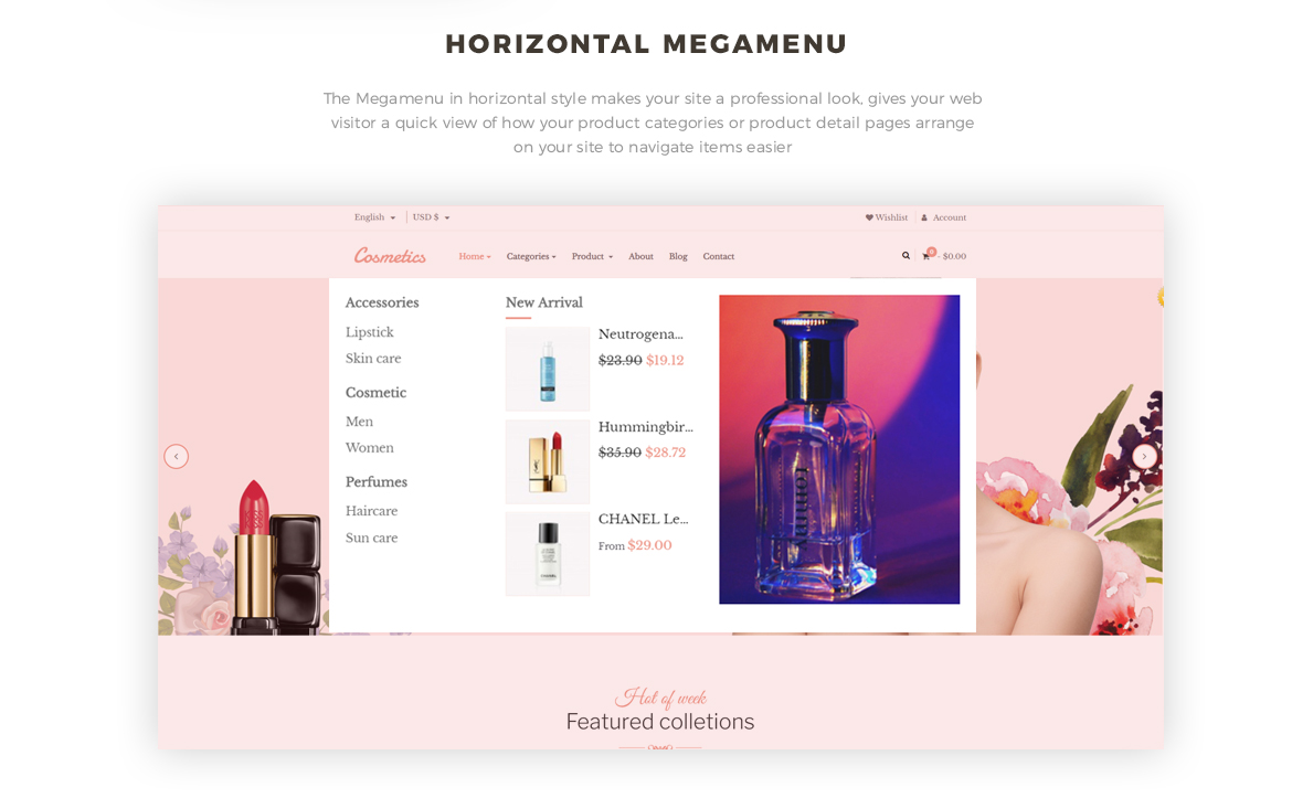 horizontal megamenu - Cosmetic and Beauty Prestashop 1.7 theme - Cosmetic and Beauty Store - free install support