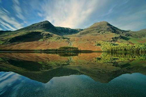 Reflection on lake Windermere uk