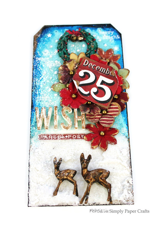 Meihsia Liu Simply Paper Crafts Mixed Media Christmas Tag Let It Snow Simon Says Stamp Tim Holtz 1