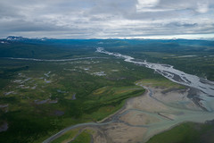 Beautiful aerial view of Katmai National Park. Braided river and untouched wilderness, and mountains in Alaska