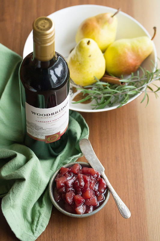 Bottle of Woodbridge Wine and Dish of Pear Compote