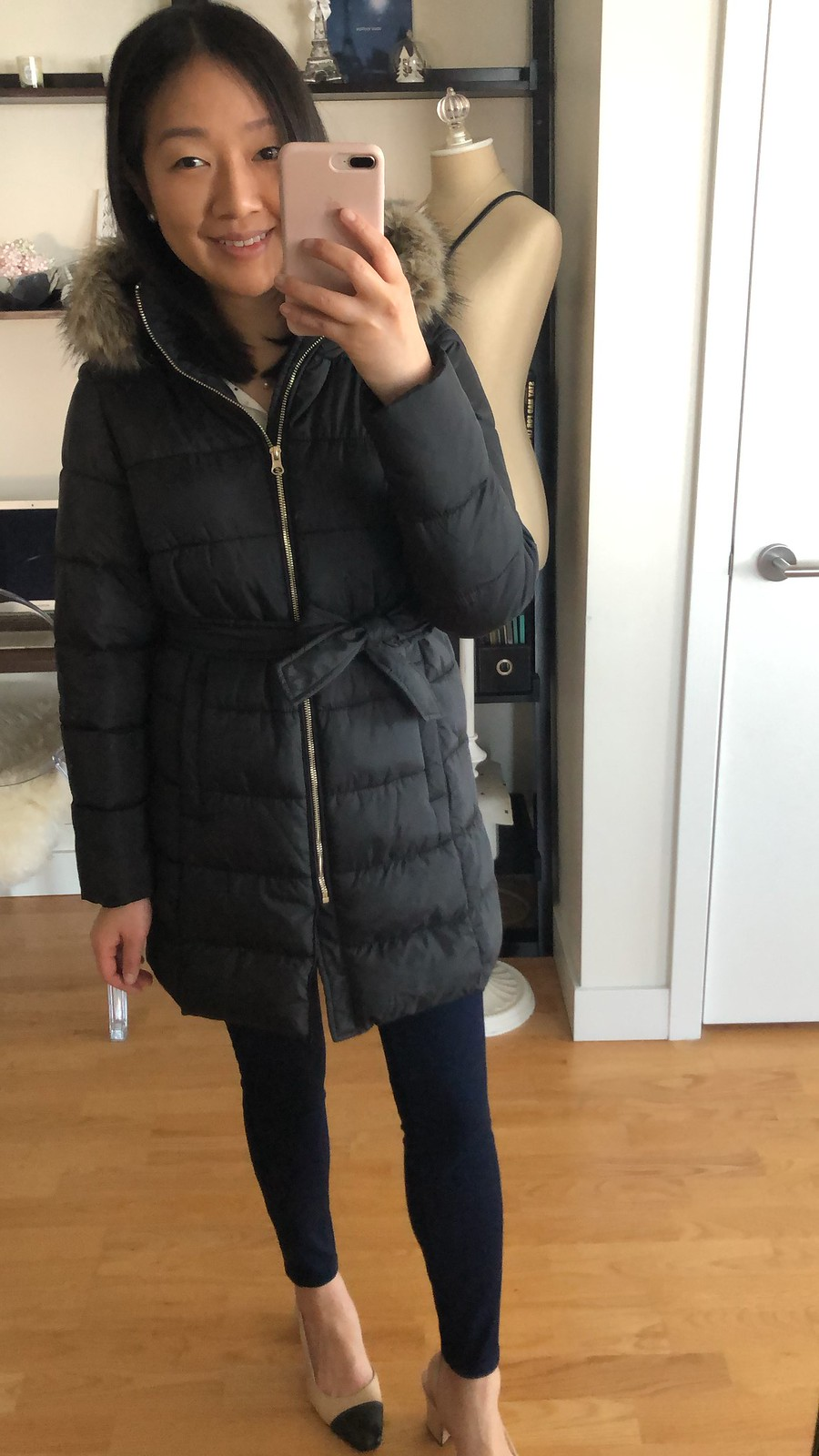 LOFT Faux Fur Trim Belted Puffer Coat, size XSP