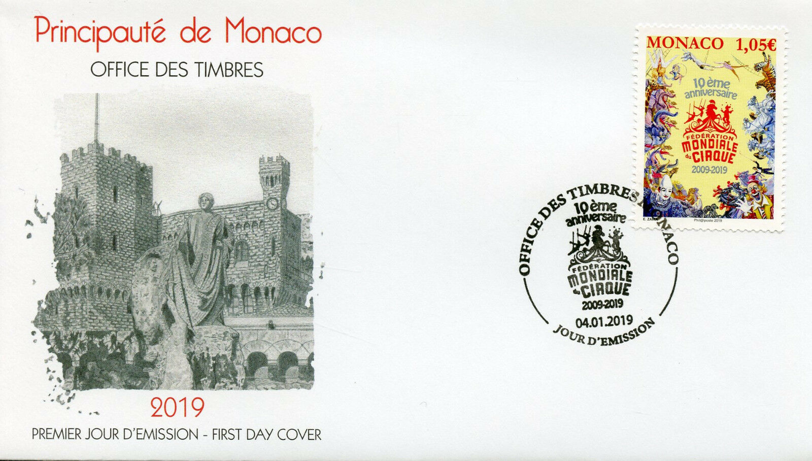 Monaco - International Circus Festival (January 4, 2019) first day cover