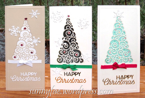 3 die-cut Christmas tree cards