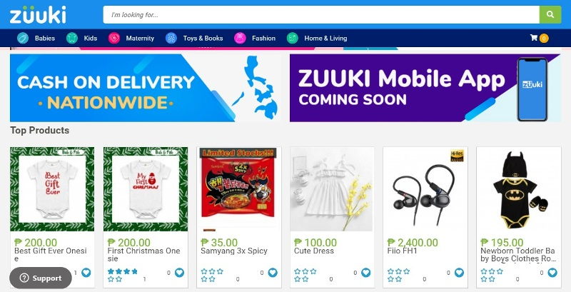 Zuuki Online Shopping Store Categories