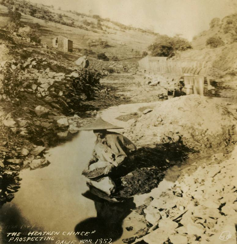 Chinese miner panning for gold in California in 1852. The photo is captioned