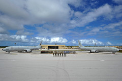 ANDERSEN AIR FORCE BASE, Guam (Jan. 14, 2019) Service members from the U.S., Australia and the Republic of Korea pose in formation at the beginning of exercise Sea Dragon. An annual, multilateral exercise, Sea Dragon stresses coordinated anti-submarine warfare (ASW) prosecution against both simulated and live targets. (U.S. Navy photo by Mass Communication Specialist 1st Class Kevin A. Flinn/Released)