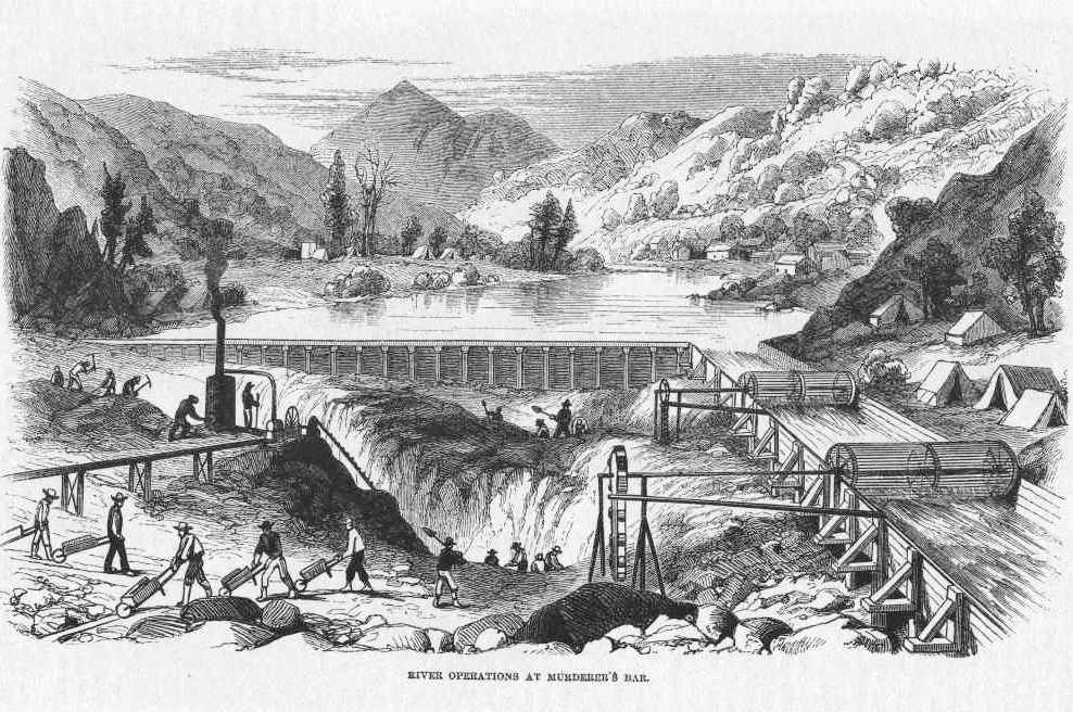 Excavating a river bed for gold after the water has been diverted. From Harper's Magazine, April 1860.