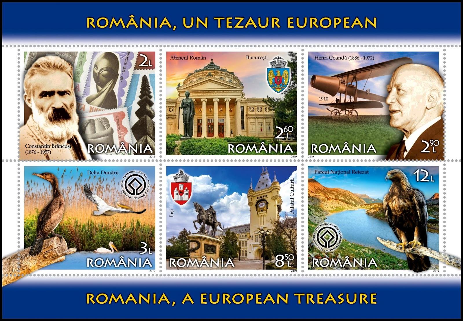 Romania - A European Treasure (January 16, 2019) mini-sheet of 6 designs