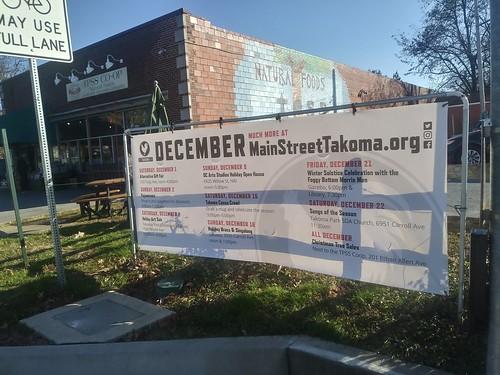 Line up of Holiday Events, 12/2018, Main Street Takoma Park, Maryland