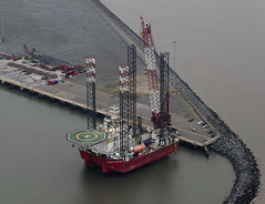 Seajacks Jackup Vessel Leviathan in Great Yarmouth Outer Harbour