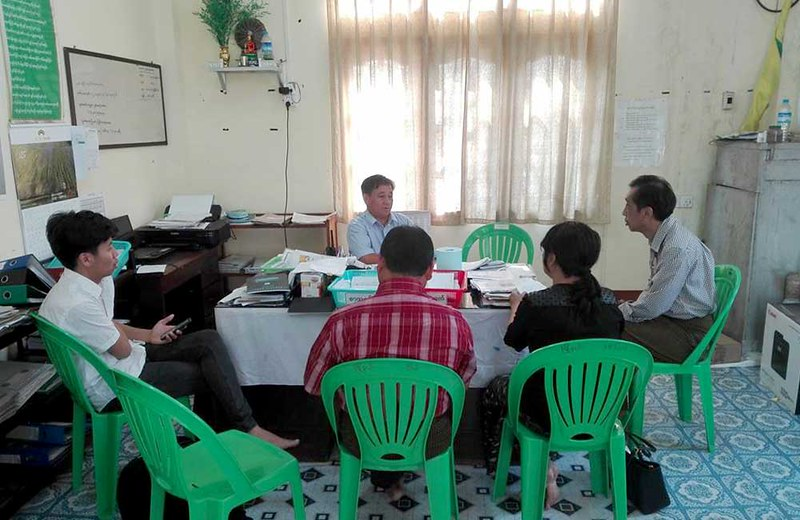 Meeting with township education officer at Chaungzon