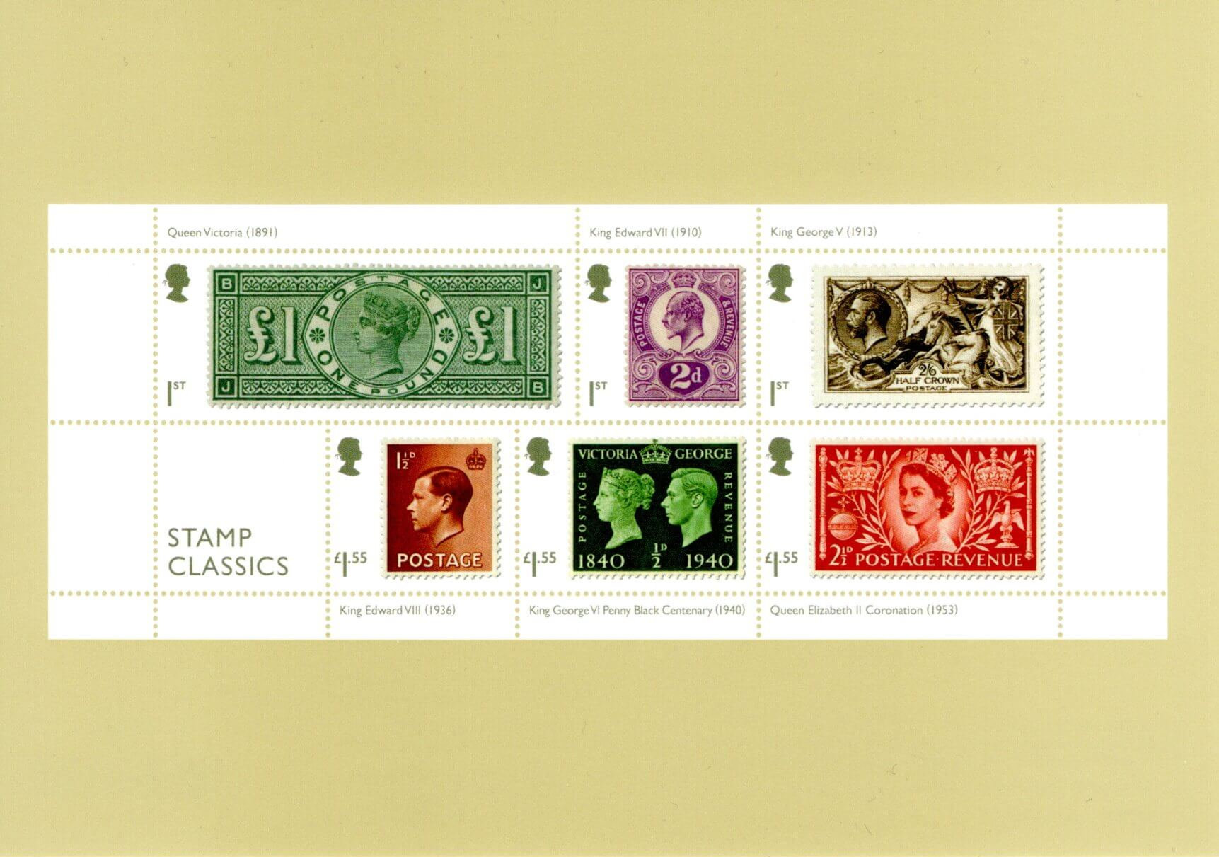 Great Britain - Stamp Classics (January 15, 2019) miniature sheet of 2019 PHQ card