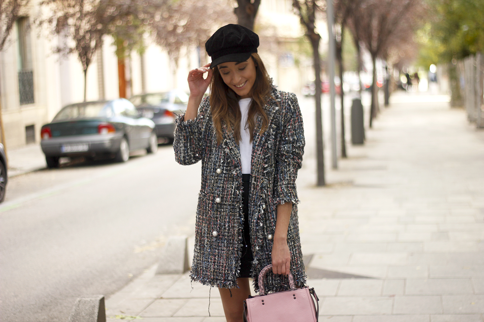 tweed coat black boots pick coach bag street style fall outfit 20185387