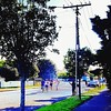 Summer in Naylor Street #lovethetron #streetracing #summer Alt text: 4 young men racing up a suburban street. An older man is standing to the side of the road with a stopwatch timing them. The sun is shining, shadows on the road from the trees lining it i