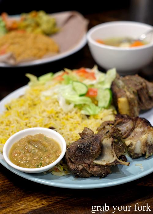 Somali bariis mansaf at Salam Cafe Somali and Ethiopian restaurant in Auburn