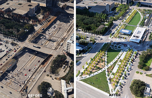 Klyde Warren Park, Dallas, before and after photos