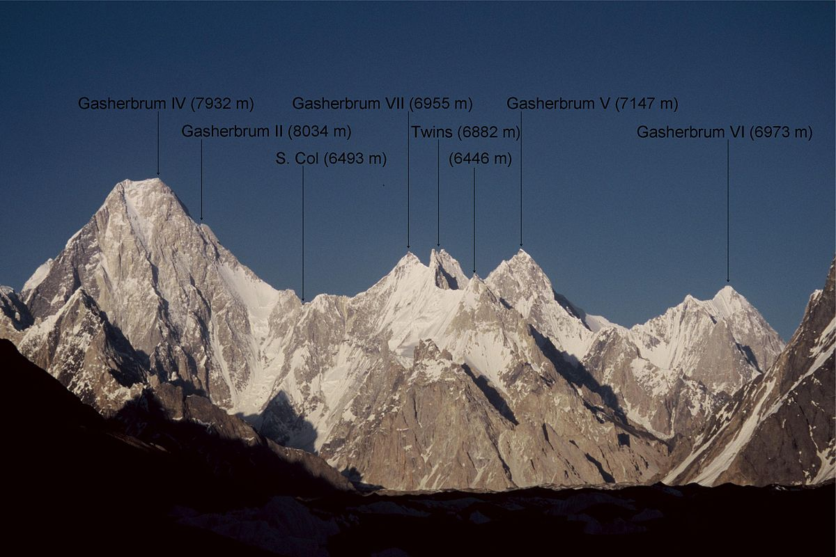 The west faces of the Gasherbrum group mountains.