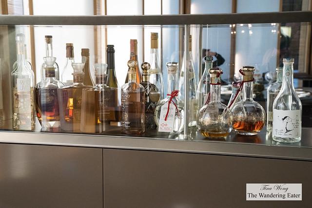 Shelf of fine spirits