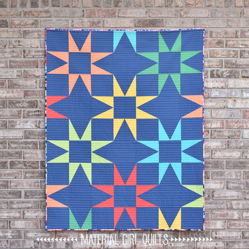 Seeing Stars crib size quilt by Amanda Castor of Material Girl Quilts