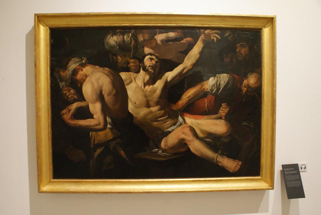 """Peinture de Gioacchino Assereto """"Martyr de Saint Bartolomeo"""" au musée des Beaux-Arts de Gènes."""