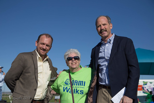 Marilyn Salzman with two mayors