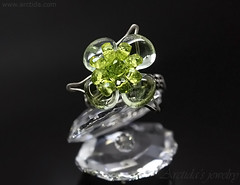 Green gemstone flower ring Prasiolite Peridot wire wrapped sterling silver ring - Gemstone flower collection by Arctida