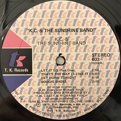 K.C. & THE SUNSHINE BAND:K.C. & THE SUNSHINE BAND(LABEL SIDE-A)