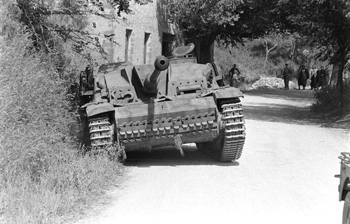 US Army from the 45th Infantry Division with a captured StuG III near Velletri Italy June 1944.