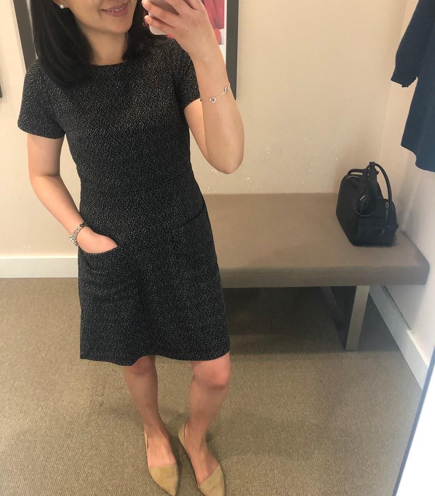 LOFT Flecked Pocket Flare Dress, size 2P