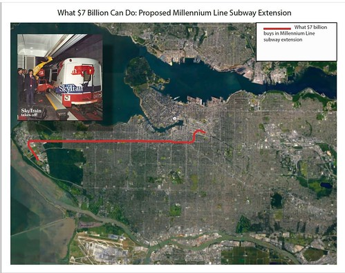 How much track a $7 billion (Canadian) subway extension to UBC will net