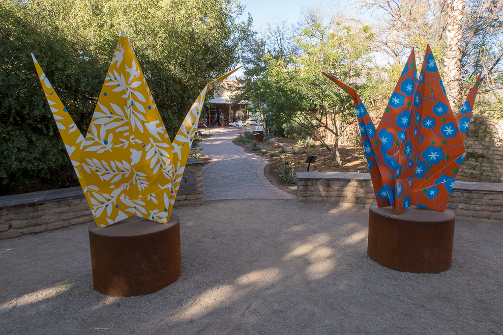 Origami sculptures at Tucson Botanical Gardens