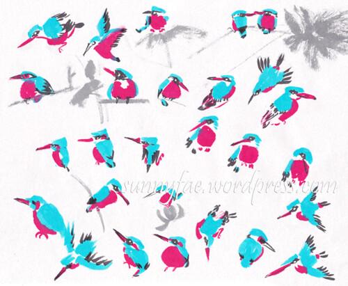 kingfisher inktober practice