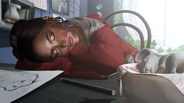 •{ Asleep at the desk . . .