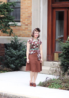 1940s brown and green dress rescue project | by polka.polish
