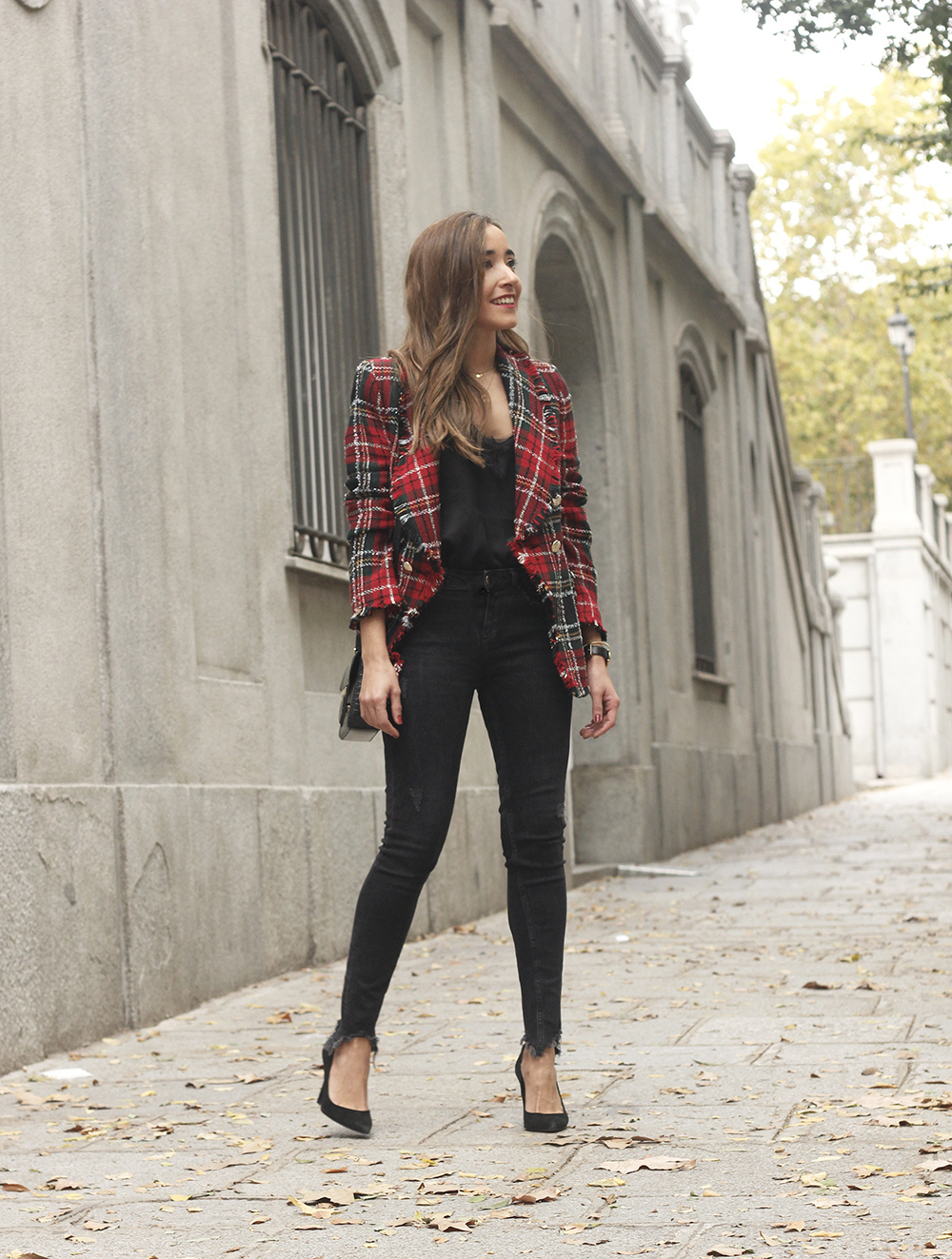 Tartan blazer black outfit heels givenchy bag street style fall outfit 20183838