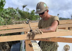 TINIAN, Northern Mariana Islands (Jan. 25, 2019) Builder 3rd Class Matthew Winnett, assigned to Naval Mobile Construction Battalion 3, Det. Tinian, nails in a truss for a temporary emergency roof for a home that was damaged during Super Typhoon Yutu. Service members from Joint Region Marianas and U.S. Indo-Pacific Command are providing Department of Defense support to the Commonwealth of the Northern Mariana Islands' civil and local officials as part of the Federal Emergency Management Agency-supported Super Typhoon Yutu recovery efforts. (U.S. Navy photo by Construction Electrician Constructionman Manuel Torres/Released)