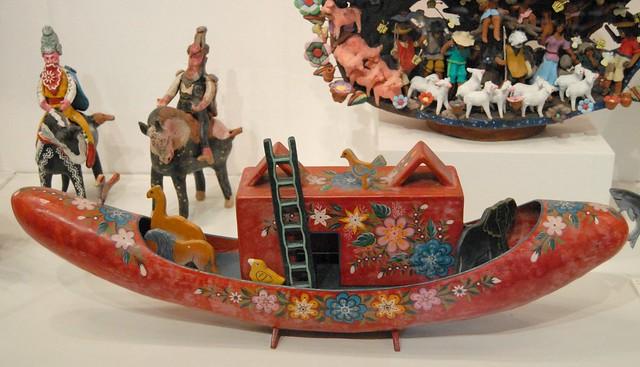 Mexican Lacquer Noahs Ark Boat Guerrero