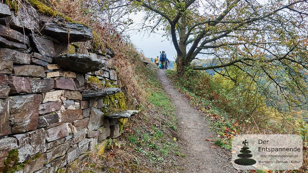 Schiefermauer und -treppe in den Weinbergen über Hatzenport