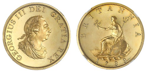 1799 Gilt Copper George III Proof Halfpenny